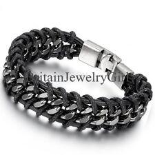 "Braided Metal Clasp Bangle Bracelet 8.5"" 17Mm Wide Cool Men's Black Leather"