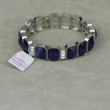 Lia sophia signed jewelry stretch tennis link bangle bule cut crystal bracelet
