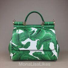 New DOLCE GABBANA Miss Sicily Green Banana Palm Leaves Leather Bag Handbag Purse