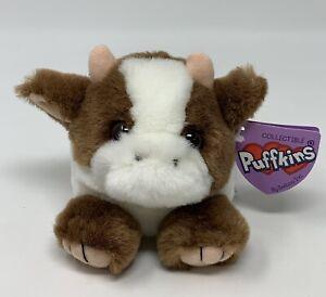 "Puffkins Clara Cow Bean Bag Plush Stuffed Animal Toy Swibco Brown White 4"""