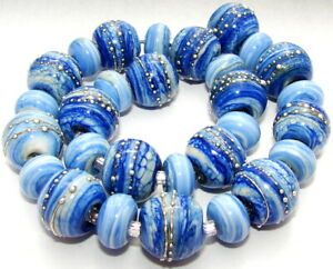 "Sistersbeads ""C-Denim Swirl"" Handmade Lampwork Beads"
