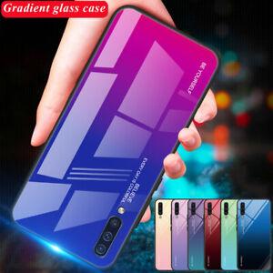 Hybrid Gradient Temper Glass Hard Case for Samsung Galaxy A7 A6 A8 Plus 2018 A50