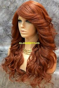 Human Hair Blend Lace Front Full Wig Long Wavy Layered Auburn Hair Piece Heat Ok