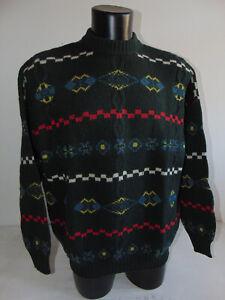 Vintage 90 BENETTON L XL Maglione Polo Lana Sweater Verde Maglia Fantasia