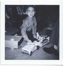 1960s SNAPSHOT PHOTO BOY W/NEW TONKA TRUCK & TRAILER & BACKHOE TOY