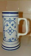 """Vintage Porcelain Bereuther Indischblau Bavaria - Germany Beer Mug 7"""" tall"""
