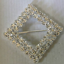 Silver plated alloy sturdy Square  2 row diamante crystal cake sash buckle