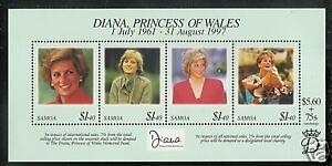 SAMOA # 956  PRINCESS DIANA  MEMORIAL Souvenir Sheet