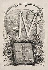 1871:MONZA, MINIATURA STEMMA ARALDICO CITTA+Passepartout.Cento Citta, Ariodante