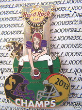 2013 HARD ROCK CAFE BALTIMORE RAVENS SUPERBOWL CHAMPS/SEXY FOOTBALL GIRL LE PIN