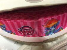 1 Metre My Little Pony Pink Rainbow Dash Grosgrain Ribbon 22mm Cakes Bow Dummy