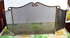 Ancienne Grille Triptyque Cheminée acier battant Laiton Vintage 1970 . 115 cm