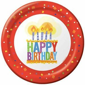 """Birthday Joy 10.25"""" Paper Plates 8 Per Pack Red Happy Birthday Party Decoration"""