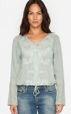 $218 JOHNNY WAS PAIGE JACKET BUTTON DOWN EMBROIDERED TOP BLOUSE SAGE SZ L NWT
