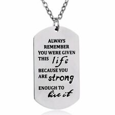 Silver Live Strong Quote Words Dog Tag Stainless Steel Necklace Jewellery Gift