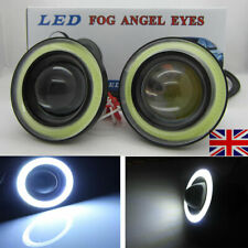 "3"" LED COB Car Fog Angel Eyes Lights Projector Lens Lamp Halo Rings Cool White"
