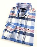 TOMMY HILFIGER Shirt Men's End-On-End Blue / Red Check Custom Fit