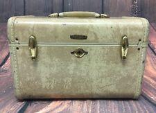 Vintage Samsonite Streamlite Cosmetic Overnight Train Suitcase Marbled Cream