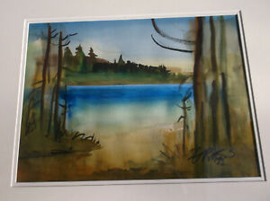 California Artist,Milford Zornes,Sierra Mountains, Lake Landscape, Museums
