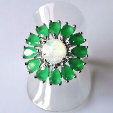 Echtschmuck aus Sterlingsilber mit Smaragd und Tropfen-Ringe