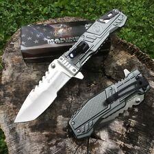 MTECH USMC MARINES Spring Assisted Open Tactical Rescue Folding POCKET KNIFE LED