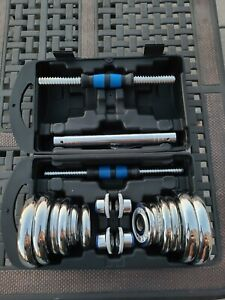 Adjustable Dumbbell Chrome Steel Weight Set 20KG 44LBS with Barbell Option Kit