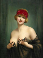 Art Oil painting Francois Martin-Kavel naked nude nice lady with red Headscarf