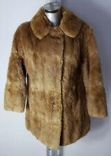 DESIGNER WOMENS REAL ANIMAL BROWN TAN FUR COAT JACKET SIZE UK 12 EU 40