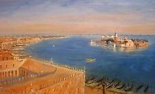 """JUSTN TEW """"Venice II"""" gondolas adriatic SIGNED LTD ED! SIZE:56cm x 85cm NEW RARE"""