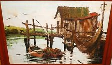 CHARLES BEAUVAIS CALIFORNIA BOAT DOCK ORIGINAL OIL ON CANVAS SEASCAPE PAINTING
