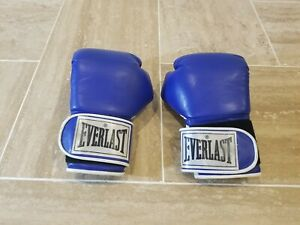Vintage Blue White Everlast Boxing Gloves Sparring MMA FIGHT Size 8 Excellent
