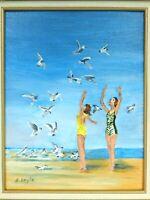"M. JANE DOYLE SIGNED ORIG.ART OIL/CANV PAINTING ""FEEDING THE GULLS"" (BEACH) FR."