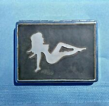 Vintage Mother of Pearl Inlay NAKED WOMAN Trucker's Dream Cigarette Case ❤️ts17j