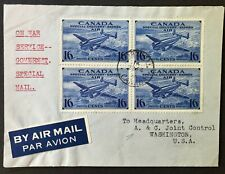 CANADA  1945 # CE1 BLOCK OF 4 ON WAR SERVICE COVER TORONTO TO WASHINGTON