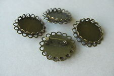 20 BRONZE TONE 32mm DOUBLE EDGE ROUND CABOCHON FRAME SETTING BROOCHES  Fit 25mm