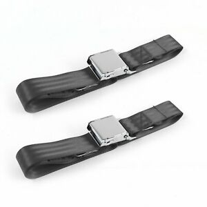 Jeep Willys 1944 - 1952 Airplane 2pt Charcoal Lap Bench Seat Belt Kit - 3 Belts