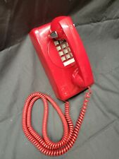 Vintage 1990's Cortelco Wall Mount Push Button Phone Red Not Tested (Vr)