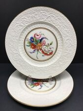 """VTG Wedgwood Floral Gold Trim Serving Platter Chop Plate 11"""" England Set of 2"""