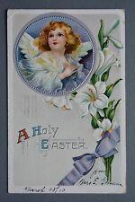 R&L Postcard: Greetings, Easter, Angel & Flower Embossed Design