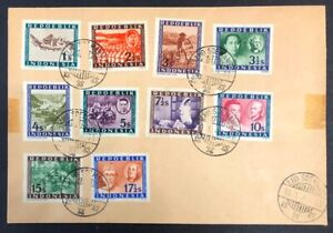 Indonesia #1,3-11 on 1948 Cover Used