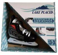 NEW Lake Placid Black And Gray Boys Kids Adjustable Ice Hockey Skates Sizes 13-3