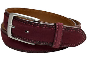 """Suede Genuine Leather Casual Jean Belt 1-3/8"""" Wide Stitched Edge Nickle Buckle"""