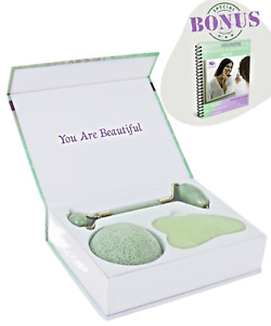 Jade Roller + Gua Sha Set + Konjac Sponge | 100% Jade | Anti-Aging Face Massager