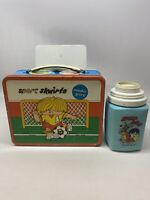 """SPORT SKWIRTS METAL LUNCH BOX - """"freddie faceoff"""" With thermos No top"""