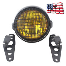 """6.3"""" Motorcycle Mount Headlight + Brackets + Grill Cover Cafe Racer Custom US"""
