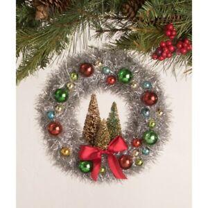 Bethany Lowe Bottlebrush Tree Silver Tinsel Wreath Retro Vntg Christmas Ornament