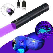 365NM UV Ultra Violet LED Flashlight Blacklight Light Inspection Lamp Torch USB