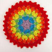 4Pcs Vintage Hand Crochet Cotton Lace Doilies Round Coaster Cup Pad Rainbow 11cm