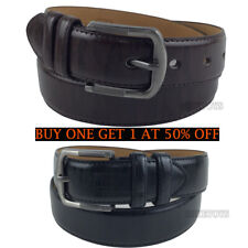 Men's Casual Black Dress Leather Belt w/ Buckle New S-XL classes Black Brown (1)