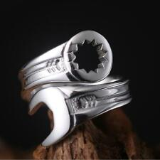 MEN'S Silver Mechanic Curved Spanner Wrench Tool Stainless Steel Biker Ring